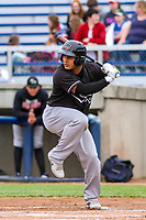 Quad Cities River Bandits catcher Ruben Castro (10) at bat during a Midwest League game against the Beloit Snappers on May 20, 2018 at Pohlman Field in Beloit, Wisconsin. Beloit defeated Quad Cities 3-2. (Brad Krause/Four Seam Images)