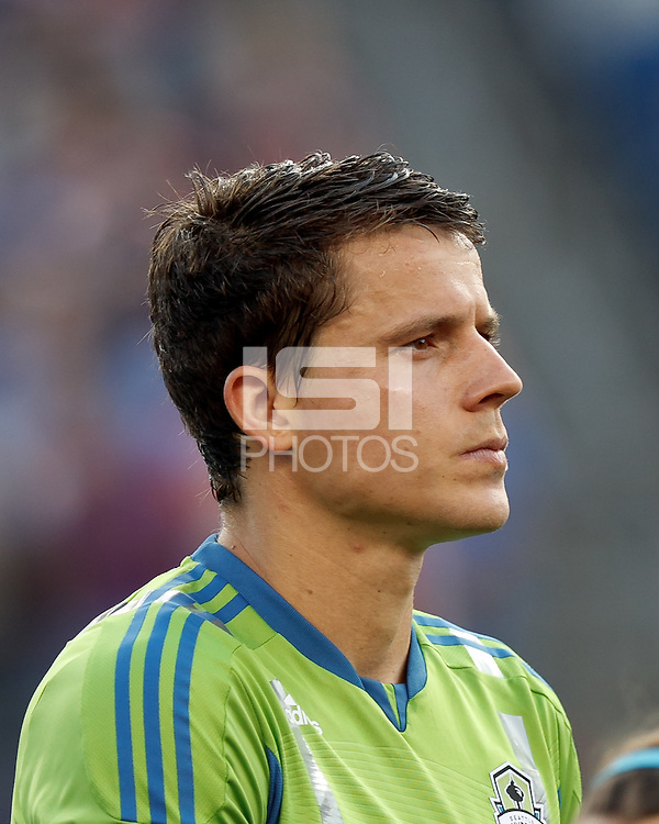 Seattle Sounders FC defender Marc Burch (8), tensed. In a Major League Soccer (MLS) match, the New England Revolution tied the Seattle Sounders FC, 2-2, at Gillette Stadium on June 30, 2012.