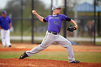 Wisconsin-Whitewater Warhawks pitcher Heath Renz (25) delivers a pitch during a game against the St. Thomas Tommies on March 27, 2016 at Lake Myrtle Park in Auburndale, Florida.  Wisconsin-Whitewater defeated St. Thomas 13-1.  (Mike Janes/Four Seam Images)
