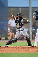 GCL Pirates catcher Dylan Shockley (36) throws down to second base during a Gulf Coast League game against the GCL Rays on August 7, 2019 at Charlotte Sports Park in Port Charlotte, Florida.  GCL Rays defeated the GCL Pirates 5-3 in the second game of a doubleheader.  (Mike Janes/Four Seam Images)