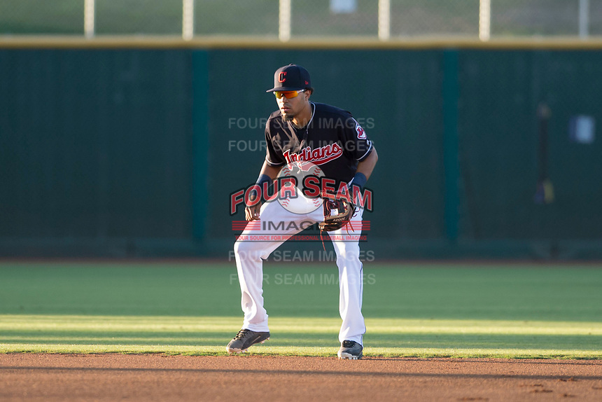 AZL Indians 1 shortstop Marcos Gonzalez (1) during an Arizona League game against the AZL White Sox at Goodyear Ballpark on June 20, 2018 in Goodyear, Arizona. AZL Indians 1 defeated AZL White Sox 8-7. (Zachary Lucy/Four Seam Images)