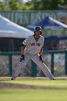 San Jose Giants third baseman Wander Franco (12) takes a lead off third base during a California League game against the Modesto Nuts at John Thurman Field on May 9, 2018 in Modesto, California. San Jose defeated Modesto 9-5. (Zachary Lucy/Four Seam Images)