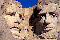 Mount Rushmore National Memorial, sculptures of U.S. Presidents Theodore Roosevelt and Abraham Lincoln by Gutzon Borglum.