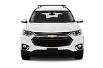 Car photography straight front view of a 2018 Chevrolet Traverse 1LT 5 Door SUV Front View