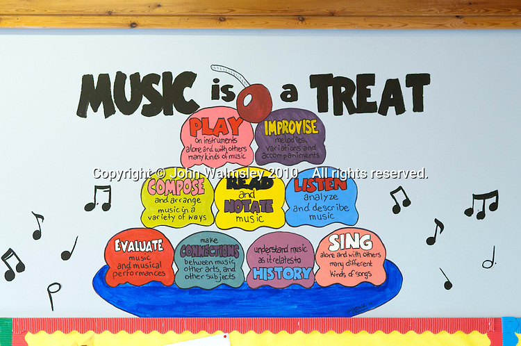 Sign in a Music classroom, state secondary school.