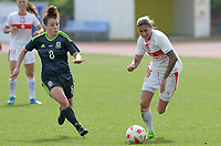 20180305 - LARNACA , CYPRUS : Swiss Melanie Muller (right) pictured in a duel with Welsh Angharad James (r) during a women's soccer game between Switzerland and Wales , on monday 5 March 2018 at GSZ Stadium in Larnaca , Cyprus . This is the third game in group A for Switzerland and Wales during the Cyprus Womens Cup , a prestigious women soccer tournament as a preparation on the World Cup 2019 qualification duels. PHOTO SPORTPIX.BE | DAVID CATRY