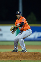 Greeneville Astros relief pitcher Joselo Pinales (14) in action against the Burlington Royals at Burlington Athletic Park on August 29, 2015 in Burlington, North Carolina.  The Royals defeated the Astros 3-1. (Brian Westerholt/Four Seam Images)