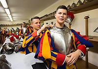 Guardie Svizzere vestono uniformi e armature per la cerimonia del giuramento Citta' del Vaticano, 6 maggio 2017.<br /> Pontifical Swiss Guards wear their uniforms and armors prior to attend the swearing-in a ceremony at the Vatican, 6 May 2017.<br /> UPDATE IMAGES PRESS/Riccardo De Luca<br /> <br /> STRICTLY ONLY FOR EDITORIAL USE
