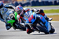 Trent Gibson (12) leads Jeffrey Lampe (46) during the AMA SuperBike motorcycle race at Daytona International Speedway, Daytona Beach, FL, March 2011.(Photo by Brian Cleary/www.bcpix.com)