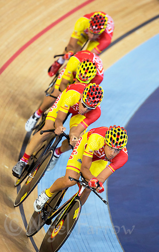 03 AUG 2012 - LONDON, GBR - Spain's (ESP) men's team practice before the start of the Team Pursuit first round during the London 2012 Olympic Games track cycling in the Olympic Park Velodrome in Stratford, London, Great Britain (PHOTO (C) 2012 NIGEL FARROW)