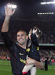 Victor Valdes celebrates winning the title with his daughter. Barcelona v Osasuna (0-1), La Liga, Nou Camp, Barcelona, 23rd May 2009.