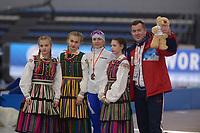 SPEEDSKATING: 22-11-2019 Tomaszów Mazowiecki (POL), ISU World Cup Arena Lodowa, Podium 3000m Ladies Division A, Natalia Voronina (RUS), Pawel Abratkiewicz (trainer/coach RUS), ©photo Martin de Jong