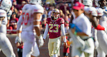 Florida State kicker Ricky Aguayo waits through two Northern Illinois time outs in an attempt to ice him prior to making a 50 yard field goal to end the first half on September 22, 2018 in Tallahassee, Florida.  The Seminoles defeated the Huskies 37-19.