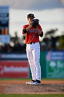 Batavia Muckdogs pitcher Eli Villalobos (21) during a NY-Penn League game against the Williamsport Crosscutters on August 25, 2019 at Dwyer Stadium in Batavia, New York.  Williamsport defeated Batavia 10-3.  (Mike Janes/Four Seam Images)