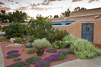 New Mexico front yard garden with walled courtyard, design by Judith Phillips