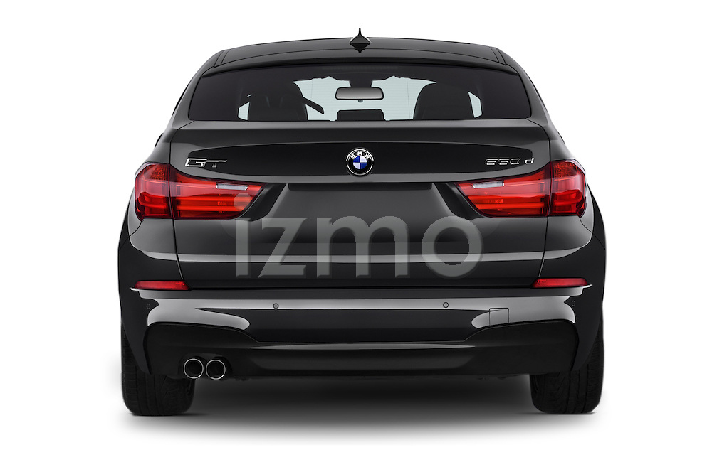 Straight rear view of2015 BMW SERIES 5 M Sport 2WD AT 5 Door Hatchback 2WD Rear View  stock images