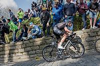 Luke Rowe (GBR/SKY) up the infamous Muur van Geraardsbergen (1100m/7.6%) that is back in the parcours after a 5 year hiatus<br /> <br /> 101th Ronde Van Vlaanderen 2017 (1.UWT)<br /> 1day race: Antwerp › Oudenaarde - BEL (260km)