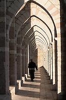 Europe/Italie/Ombrie/Assise : Basilique Saint-François (S. Francesco) - Moine franciscain sous les arcs boutants