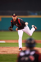 Rochester Red Wings starting pitcher Jason Wheeler (44) delivers a pitch during a game against the Syracuse Chiefs on July 1, 2016 at Frontier Field in Rochester, New York.  Rochester defeated Syracuse 5-3.  (Mike Janes/Four Seam Images)