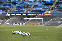 SAN JOSE, CA - AUGUST 13: Soccer balls before a game between Vancouver Whitecaps and San Jose Earthquakes at PayPal Park on August 13, 2021 in San Jose, California.