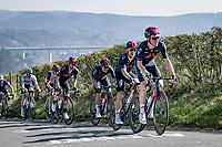 Tao Geoghegan Hart (GBR/INEOS Grenadiers) setting a high pace up the Côte de La Redoute<br /> <br /> 107th Liège-Bastogne-Liège 2021 (1.UWT)<br /> 1 day race from Liège to Liège (259km)<br /> <br /> ©kramon