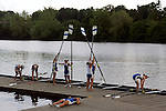 Rowers from the University of Buffalo prepare to take their boat from the water following a third place finish in the Women's Varsity Heavyweight Eight Final during the 68th Dad Vail Regatta on the Schuylkill River in Philadelphia, Pennsylvania on May 13, 2006........