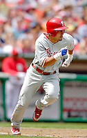 11 June 2006: Shane Victorino, outfielder for the Philadelphia Phillies,runs to first during a game against the Washington Nationals at RFK Stadium, in Washington, DC. The Nationals shut out the visiting Phillies 6-0 to take the series three games to one...Mandatory Photo Credit: Ed Wolfstein Photo..