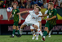COLLEGE PARK, MD - SEPTEMBER 3: \m37\ moves away from George Mason University midfielder Louis lehr (10) during a game between George Mason University and University of Maryland at Ludwig Field on September 3, 2021 in College Park, Maryland.