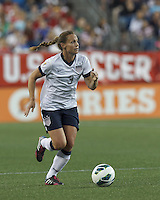 USWNT defender Christie Rampone (3) brings the ball forward.  In an international friendly, the U.S. Women's National Team (USWNT) (white/blue) defeated Korea Republic (South Korea) (red/blue), 4-1, at Gillette Stadium on June 15, 2013.