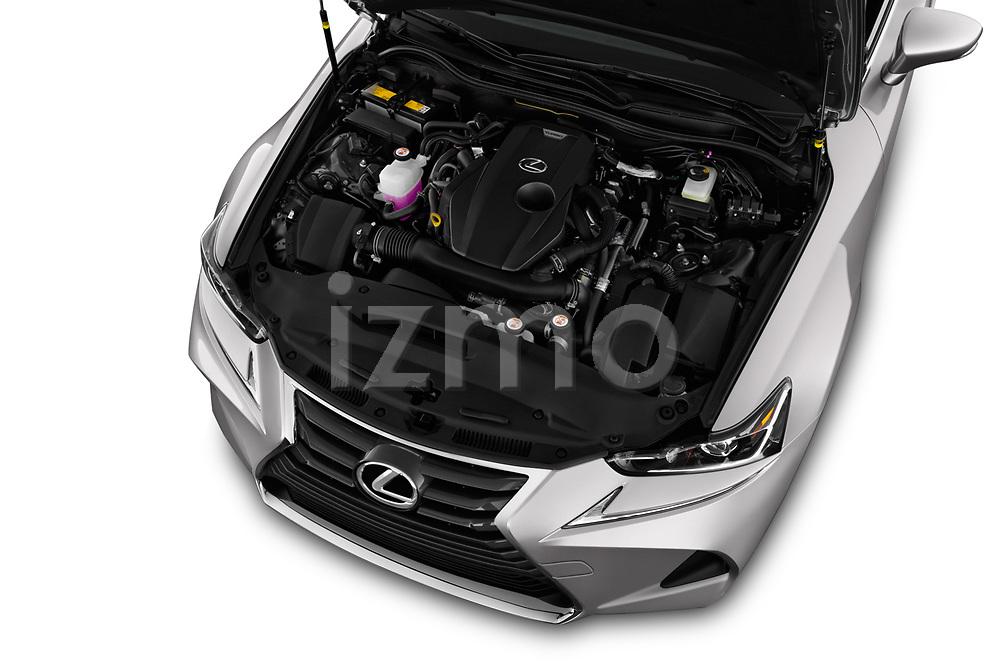 Car stock 2018 Lexus IS 300 4 Door Sedan engine high angle detail view