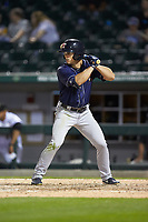 Jacob Robson (7) of the Toledo Mud Hens at bat against the Charlotte Knights at BB&T BallPark on April 24, 2019 in Charlotte, North Carolina. The Knights defeated the Mud Hens 9-6. (Brian Westerholt/Four Seam Images)