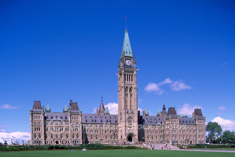Parliament Buildings on Parliament Hill, in the City of Ottawa, Ontario, Canada - Centre Block with Peace Tower (built 1865 - 1927)