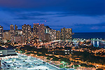 USA, HI, Honolulu, Waikiki Skyline at Twilight