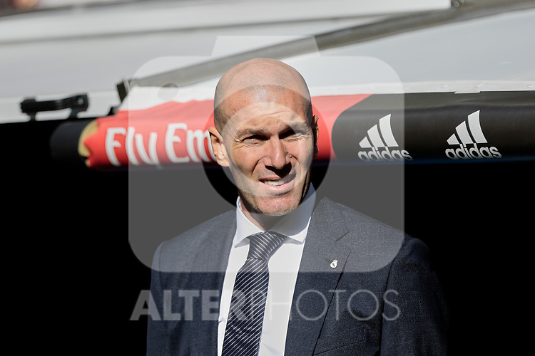 Real Madrid's coach Zinedine Zidane during La Liga match between Real Madrid and Real Club Celta de Vigo at Santiago Bernabeu Stadium in Madrid, Spain. March 16, 2019. (ALTERPHOTOS/A. Perez Meca)