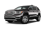 Stock pictures of low aggressive front three quarter view of 2018 GMC Acadia SLT-1-FWD 5 Door SUV Low Aggressive
