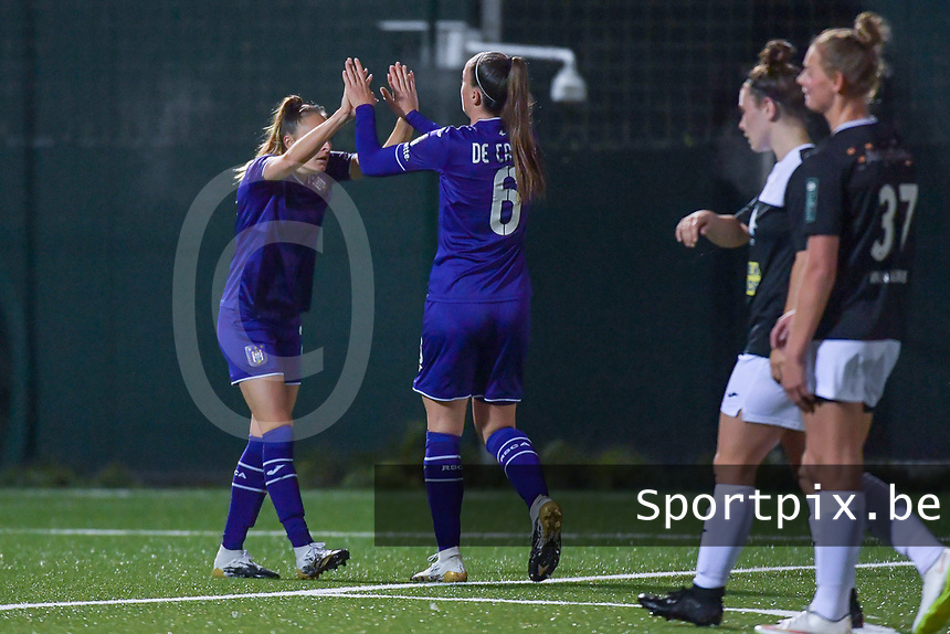 Anderlecht Tessa Wullaert (L) celebrate with Anderlecht midfielder Tine De Caigny (R) during a female soccer game between RSC Anderlecht Dames and Eendracht Aalst Ladies  on the fourth matchday of the 2020 - 2021 season of Belgian Womens Super League , Tuesday 13 th of October 2020  in ANDERLECHT , Belgium . PHOTO SPORTPIX.BE | SPP | STIJN AUDOOREN
