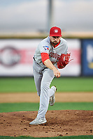 Vancouver Canadians starting pitcher Adam Kloffenstein (34) follows through on his delivery during a Northwest League game against the Tri-City Dust Devils at Gesa Stadium on August 21, 2019 in Pasco, Washington. Vancouver defeated Tri-City 1-0. (Zachary Lucy/Four Seam Images)