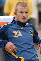 Los Angeles Galaxy midfielder David Beckham (23) before the game. DC United defeated the Los Angeles Galaxy 1-0 at RFK Stadium in Washington DC, Thursday August 9, 2007.