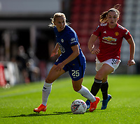 6th September 2020; Leigh Sports Village, Lancashire, England; Women's English Super League, Manchester United Women versus Chelsea Women; Kirsty Hanson of Manchester United Women chases down Joanna Andersson of Chelsea Women