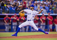 4 April 2015: Toronto Blue Jays pitcher Daniel Norris on the mound against the Cincinnati Reds at Olympic Stadium in Montreal, Quebec, Canada. The Blue Jays defeated the Reds 9-1 in the second of two MLB weekend exhibition games. The series marked the first time since 2004 that the Reds played at Olympic Stadium, during the last season of the Montreal Expos. Mandatory Credit: Ed Wolfstein Photo *** RAW (NEF) Image File Available ***