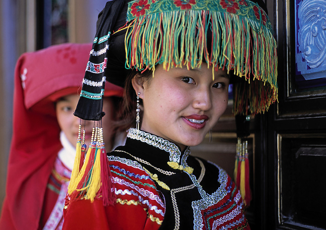 Girls in Yunnan minority dress, China