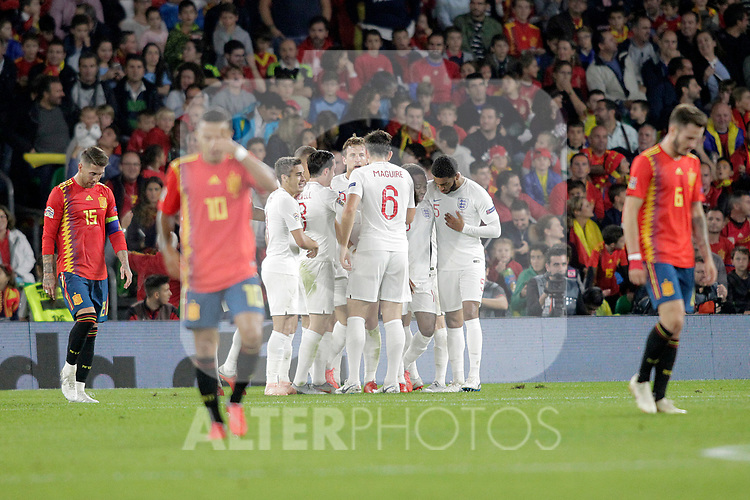 England's players celebrate goal in presence of Spain's Sergio Ramos (l), Thiago Alcantara (c) and Saul Niguez (r) during UEFA Nations League 2019 League Phase match. October 15,2018.(ALTERPHOTOS/Acero)