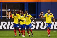 Jaime Ayovi (17) of Ecuador celebrates scoring with Segundo Castillo (14) and Narciso Mina (8). Ecuador defeated Chile 3-0 during an international friendly at Citi Field in Flushing, NY, on August 15, 2012.