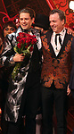 """Aaron Tveit and Derek McLane during the Broadway Opening Night performance Curtain Call bows for """"Moulin Rouge! The Musical"""" at the Al Hirschfeld Theatre on July 25, 2019 in New York City."""