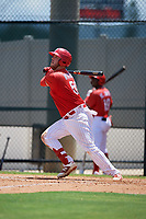 GCL Phillies West Rixon Wingrove (52) bats during a Gulf Coast League game against the GCL Yankees East on August 3, 2019 at the Carpenter Complex in Clearwater, Florida.  The GCL Yankees East defeated the GCL Phillies West 4-0, the second game of a doubleheader.  (Mike Janes/Four Seam Images)