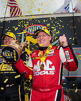 Feb 9, 2020; Pomona, CA, USA; NHRA top fuel driver Doug Kalitta celebrates after winning the Winternationals at Auto Club Raceway at Pomona. Mandatory Credit: Mark J. Rebilas-USA TODAY Sports