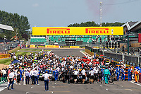 18th July 2021; Silverstone Circuit, Silverstone, Northamptonshire, England; Formula One British Grand Prix, Race Day; A packed grid prepares for the grand prix