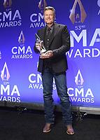 NASHVILLE, TN - NOVEMBER 13:  Blake Shelton in the press room at the 53rd Annual CMA Awards at the Bridgestone Arena on November 13, 2019 in Nashville, Tennessee. (Photo by Scott Kirkland/PictureGroup)