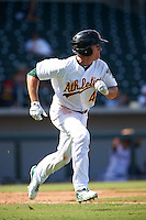 Mesa Solar Sox outfielder Jaycob Brugman (4) during an Arizona Fall League game against the Glendale Desert Dogs on October 14, 2015 at Sloan Park in Mesa, Arizona.  Glendale defeated Mesa 7-6.  (Mike Janes/Four Seam Images)