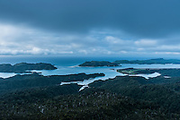 Whanganui Inlet on west coast at blue hour after sunset, Nelson Region, West Coast, South Island, New Zealand